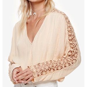 Free People Tops - Free People Crochet Lace V-Neck Long Sleeve Blouse